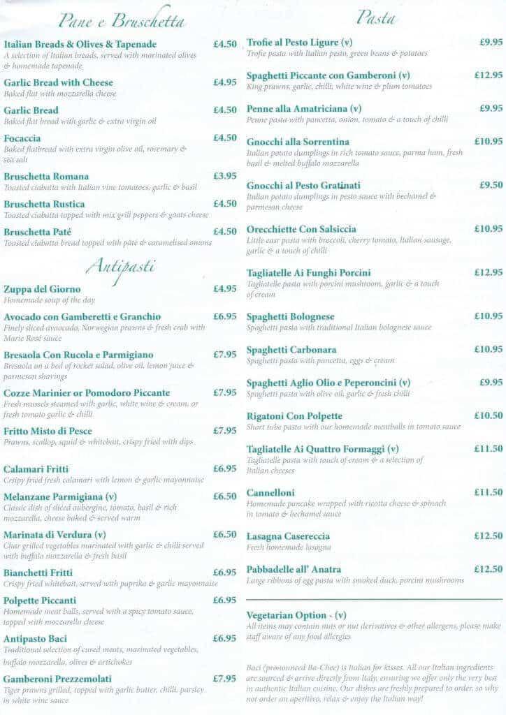 a-la-carte menu